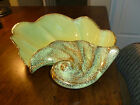 Mid Century Modern Green with Gold Splatter Conch Dish/Bowl - Large