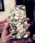 Bling Crystal Diamond Camellia Rhinestone Hard Back Case Cover For Cell Phones