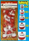 50 ASSORTED FISHING BOBBERS Round Floats RED  WHITE SNAP ON FLOAT ASSORTMENT