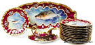 ANTIQUE FRENCH LIMOGES HANDPAINTED FISH SET PLATTER PLATES SIGNED MUVILLE 19TH C