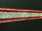 2 Yd Ribbon Trim Red Metallic Woman Saris Border Crafting Sewing Lace India T288