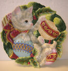 Fitz and Floyd KRISTMAS KITTY Canape plate - Playful Kitten  tangled in Ribbon