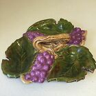 63 Vintage Arnels Ceramics Divided Candy Dish Leaf & Grape Design Vine Handle