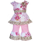 AnnLoren Little Girls 6/6X Shabby Floral & Leopard Boutique summer Outfit