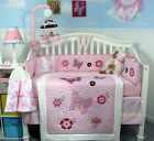 CRIB BEDDING SET BUTTERFLY BREEZE Infant Baby Girl Nursery 13 Pc Quilt Sheet NEW
