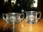 Elegant cut ANTIQUE Depression glass crystal creamer sugar etch line daisy rim