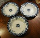 Antique Sampson Hancock & Sons Flow Blue Arundel Opaque China Large Bowls