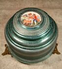 Vintage Aluminum Victorian Couple Green Powder Music Box NOT WORKING