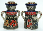 Unikat Polish Pottery Figural Candle Holder Pair, Man & Woman