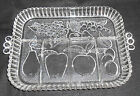 Clear Glass Handled Divided Relish Tray Platter Fruit Apple Pear Grape Peach