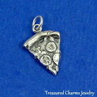 .925 Sterling Silver SLICE OF PEPPERONI PIZZA CHARM Takeout FOOD PENDANT *NEW*