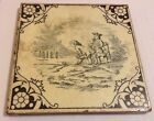 Vintage Victorian Minton Hollins & Co Stoke On Trent Ceramic Tile Black & White