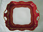 GERMAN WEIMAR FINE CHINA PORCELAIN ROYAL RED GOLD HANDLED FLOWERS PLATTER TRAY