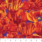 1 yard Poppy Passion by Elaine Quehl from Northcott 100 cotton fabric Purple