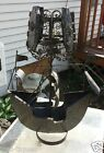 HUGE Hand Forged Bronzed Tin Iron Mid Century Denmark Viking Pirate Ship Lamp