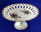 Vintage Reticulated Laced Footed Fruit Candy Bowl Compote Made in Japan