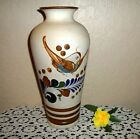 PRETTY VINTAGE LARGE HAND PAINTED BIRD DUSTY SAND POTTERY VASE
