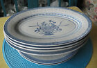 Tienshan Made in China - Blue & White - Rice Flower - 4 Platters 2 Dinner Plates