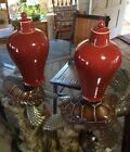 Rare Pair Of Large Vintage Chinese Ox Blood vase's W/ Lids Ginger Jars