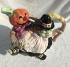 RETIRED Fitz & Floyd Halloween Hoedown Jack O-Lantern Dancing Witch Pitcher