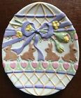 Fitz & Floyd Essentials Egg-Shaped Hand Painted Decorative Easter Bunny Plate