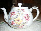 Spring White Teapot-Wood & Son Ellgreave -England- Muted Floral Fluted Bottom