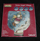 SAKURA DEBBIE MUMM CHRISTMAS SNOW ANGEL VILLAGE SALAD DESSERT PLATE SET OF 4 NEW