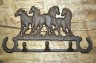 Cast Iron 4 HORSETowel, Coat Hooks, Hat Hook, Key Rack RUSTIC Garden HORSE SHOES