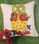 1971 Erica Wilson Strawberry Pillow crewel embroidery kit # 7148 Vintage