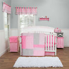 Pink And Grey 5 Piece Crib Bedding Set