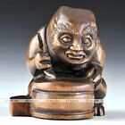 Japan Vintage Netsuke Boxwood Wood Carving  Ghost King Drum Figurine Statue Gift