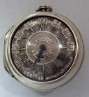 RARE SILVER CASE CHAMPLEVE DIAL VERGE FUSEE  WATCH SQUARE PILLARS WORKING