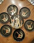 Vintage Black Lacquer Coasters/Otagiri Japan's/ Set of 6 in a Case