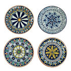 Italian Ceramic Art Pottery set 4 Plates Made in ITALY Tuscan Design Deruta