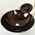 Bathroom Round Glass Vessel Vanity Sink Artistic Bowel With Waterfall Faucet