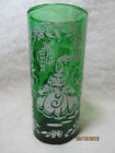 Vintage Forest Green Glass Tall Tumbler with 2 White Victorian Lady Graphics