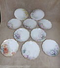 Vintage Limoges France 10 Hand Painted Signed Scalloped Plates 6 1/4