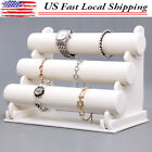 White 3 Tier LEATHER Bangle Bracelet Watch Jewelry Necklace Display Stand Holder