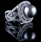 Stunning 14k White Gold Cultured South Sea Pearl  Diamond Cocktail Ring 165ctw