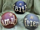 Primitive Decorative Balls FAITH FAMILY FRIENDS Stars Folk Art Bowl Fillers Set