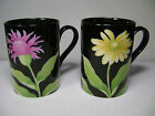 Fitz and Floyd Fleurs de Minuit Flower Mugs (2) Purple and Yellow