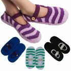 4 Pairs Womens Mary Jane Slipper Socks Fuzzy Non Skid Assorted Colors One Size
