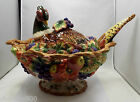 Fitz & Floyd Autumn Bounty Pheasant Covered Soup Tureen with Ladle, HTF