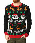 Ugly Christmas Sweater Men's All Over Xmas Pullover Sweater