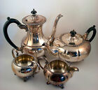 L BROS VINTAGE OLD ENGLISH REPRODUCTION SILVER OVER COPPER TEA AND COFFEE SET