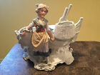 Antique German Wash Girl With Baskets and Boat Bisque Figurine