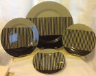 FITZ & FLOYD 4 PIECE PLACE SETTING PLATES REPRISE BLACK & TAUPE STRIPES EC RARE