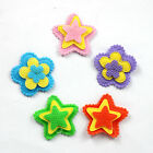 Lots 20pcs Padded Felt Stars Flower Appliques Cloth Applique For Bows DIY craft