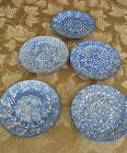 5 Stangl Blue Town and Country Spongeware Salad Luncheon Plates