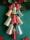 VINTAGE 11 BLOWN GLASS FEATHER TREE BELLSGLITTER DESIGNS CHRISTMAS ORNAMENTS